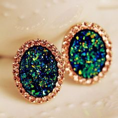 Pair of Stylish Diamante Mix-Color Oval Stud Earrings For Women, AS THE PICTURE in Earrings | DressLily.com