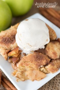 This Snickerdoodle Apple Cobbler is the best way to eat apples! Apples are cooked with snickerdoodle cookies on top for the perfect dessert!