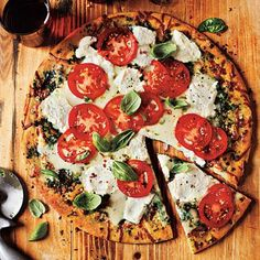 White Pizza with Tomato and Basil Recipe | Cookinglight.com