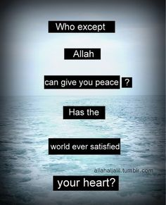 {... Truly it is in the remembrance of Allah that hearts find peace.}  Ar-Ra`d 13:28