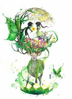 カラフルで幻想的な野生動物たちの水彩画 (8)