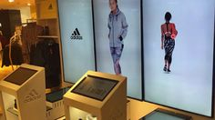 Controlled via interactive touch screens, shoppers can watch catwalks on full height screens, explore product details or locate ranges in store. The result is powerful preview of Adidas brands, enticing shoppers into the main retail space.