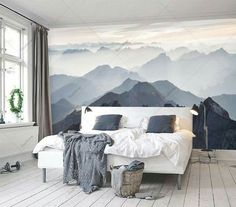 Items similar to Custom Listing Mystical Mountains mural, Misty Mountain Shadow, Hazy Silhouette Mountain mural on Etsy Mountain Mural, Mountain Decor, Mountain Bedroom, Mountain Crafts, Small Master Bedroom, Girls Bedroom, Bedroom Simple, Bedroom Loft, Trendy Bedroom