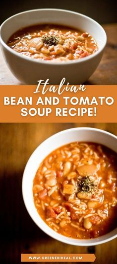 A savory medley of legumes and vegetables simmered in a rich sauce, this soup is the perfect meal for a cold winter's evening, especially when served with a thick ciabatta bun or a slice of focaccia bread. Check out this amazing | Italian Bean and Tomato Soup Recipe | NOW! | Italian Soup Recipe | Italian Recipe | #Food #SoupRecipe #FoodRecipes #Soup #HealthyRecipe #Tasty #Yummy #SoupRecipes #FoodLover #Vegan #VeganRecipe #ItalianRecipe #Beans #Tomato #GlutenFree #VeganFood #plantbased… Best Healthy Soup Recipe, Best Soup Recipes, Tomato Soup Recipes, Best Vegetarian Recipes, Vegetarian Soup, Vegan Soups, Vegan Recipes Easy, Free Recipes, Vegan Meals