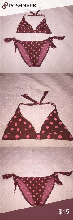 Hobie Brown with Bright Pink Polka Dot Bikini Hobie Brown with Bright Pink Polka Dot Bikini 👙 Like New. Size M Hobie Swim Bikinis