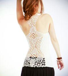 Crochet White racer back tank top very detailed por Shovava en Etsy, $48.50