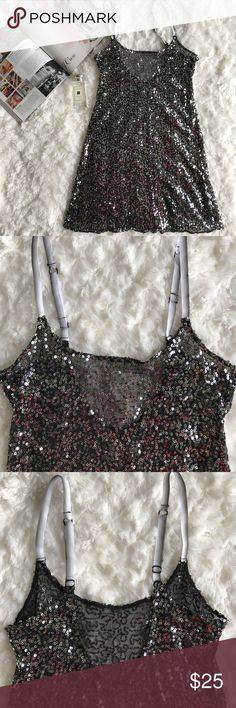 """Free People Black Sequin Slip EUC. Slip os from Free People Intimately line. Gorgeous garment that can be used for layering. Adjustable straps. Length from bottom of strap to hem is 24"""" and bust is 14"""" laid flat. 100% nylon. Free People Dresses Mini"""
