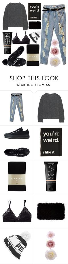 """i'll stay awake for you"" by elastiiic-babe ❤ liked on Polyvore featuring Uniqlo, Converse, Falke, NARS Cosmetics, Talula, Donna Karan, Puma and Accessorize"