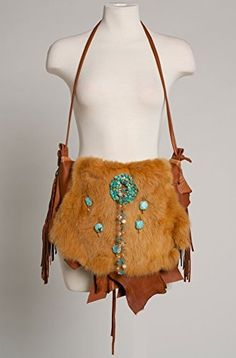 Unique Genuine South Western Style Deer Skin Handbag with Swarowski Turquoise Beads Topaz ** Read more at the image link. #Handmadehandbags