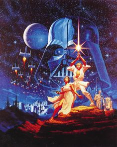 Iconic Star Wars poster art by Tim & Greg Hildebrandt. Nice to see the art as a whole without any movie logos on it. From the book Infinite Worlds by Vincent Di Fate (1997) #starwars #posterart #greghildebrandt #timhildebrandt #scifiart #darthvader by scifi_art