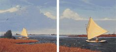 'Marsh Breezes', Limited Edition Print, The two paintings are a continuous scene, or a diptych. However, the painting on the right was done eight years before the painting on the left. The boats are Delaware Duckers, which I found at the Wooden Boat Show at the N.C. Maritime Museum.