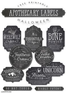 Free Halloween apothecary bottle labels