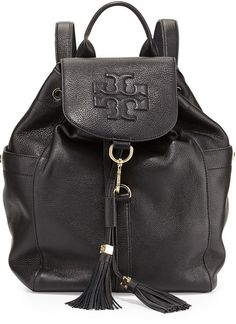 Tory Burch Thea Drawstring Leather Backpack, Black