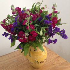 British field flowers statice,stocks,alstoemeria in this lovely flower arrangement