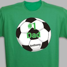 Number 1 Soccer Fan Personalized Adult T-shirts. Personalized Soccer Fan T-shirt for Grandpa, Dad or Papa. Create a unique personalized gift for your Grandpa by giving him a Personalized Soccer Fan T-shirt. He will look great as he cheers on his #1 Soccer Players every weekend. Personalized Soccer Fan T-shirts are available on our premium machine washable T-Shirt in adult sizes M-3XL. Your new custom printed t-shirt can be any of 5 colors: Black, Green, Red, White and Ash.