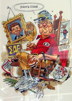 Everything you need to know about Jack Davis in one picture. Classic Cartoon Characters, Classic Cartoons, Jeff Jones, Jack Davis, Under The Rainbow, Jack Kirby, Georgia Bulldogs, Comic Artist, Cartoon Drawings