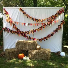 fall photobooth backdrop. not the hay bales and pumpkins, but the garland parts are cuuuute!