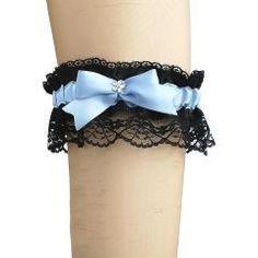 garter of satin & lace has bow for burlesque dancer, women's, blue & black 0470 Lingerie for women, garter occasions, evening garter, Hand-crafted garter for dancer, garter for burlesque or gothic style, This garter is made of light and stretchy fabrics your garter will fit, garter is very stretching, garters for women