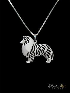 Standing Rough Collie pendant and necklace by SiberianArtJewelry