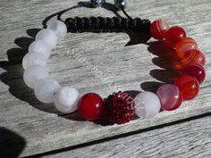 Yin Yang Red Stripped Agate and Matte Rose Quartz Shamballa Bracelet