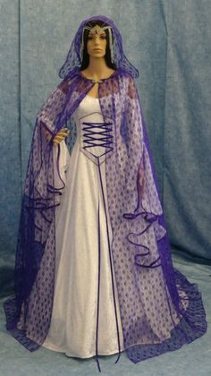 Medieval Gothic Celtic hooded lace Cloak handfasting cape Elven CUSTOM