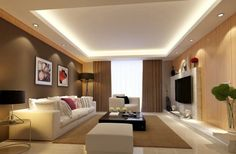 idee-peinture-salon-interessante-meubles-blancs-tv-deco-originale-mur-d-accent-marron