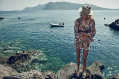 Behind the Scenes: Constance Jablonski on location for Zimmermann Resort Swim 16 in Santorini, Greece.