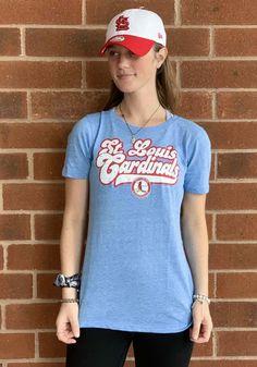 St Louis Cardinals Womens Light Blue Cooperstown Short Sleeve T-Shirt - 88884107