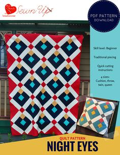 """This is a beginner quilt pattern for beginners. The pattern includes quick cutting instructions.  The large blocks are perfect to showcase a favourite fabric as well as your favourite solids.  The pattern includes suggested colour schemes as well as a colouring page.  Quilt pattern basics:  - Quilt sizes: Cushion, throw, twin and queen. - Quilt finished block size: 12"""". - Cushion finished block size: 4 ½"""". - Quilt style: Traditional piecing. On point. - Skill level: Beginner."""