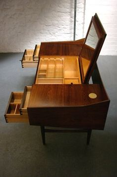 Danish Cabinet Maker Dressing Table Of The Highest Quality In Beautiful  Rosewood. Fantastic Details Including Two Removable Lights, A Flip Up  Adjustable ...