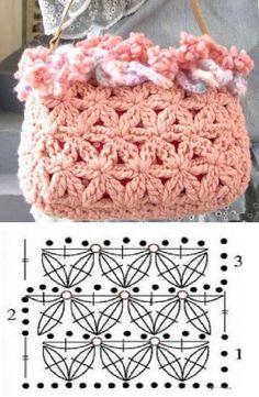 Patrones Crochet: Bolso de Crochet Estrellas Patron ༺✿ƬⱤღ http://www.pinterest.com/teretegui/✿༻