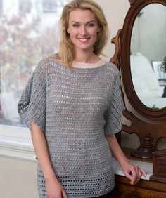 Simple shaping and an identical front and back make this pullover an ideal first garment to crochet. Change up the look by wearing a different colour shirt underneath.