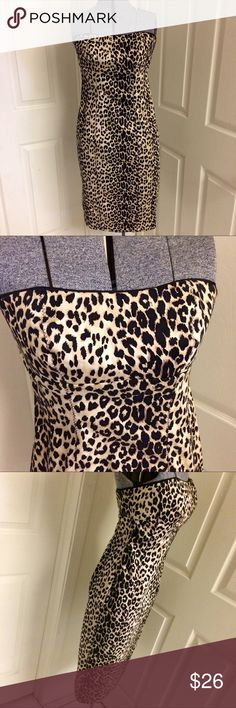 BEBE leopard pencil dress SEXY strapless leopard print pencil dress. Slim fit, cotton/spandex blend, dress does have a bit of stretch. Back zip with hook/eye closure. This dress has been in my collection awhile and it's time to let it go. GREAT (pre-loved) condition. I did remove the lingerie (hanging) straps, I used a clip hanger to hang it. Hand wash & lay flat to dry OR dry clean. Fantastic pin-up style dress and classic animal print that NEVER goes out of style! ❤️ Bust 32, waist 29…