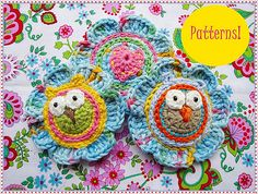 Maria Manuel has heaps of owl design patterns, colourful and cute. Lovely Flowers With Owls Crochet Patterns pattern by Maria Manuel Crochet Owl Blanket, Crochet Owl Hat, Crochet Puff Flower, Owl Crochet Patterns, Crochet Birds, Owl Patterns, Love Crochet, Crochet Motif, Crochet Flowers