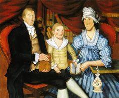 1796 Jonathan Budington (American artist, 1766-1854). Portrait of George Eliot and Family.