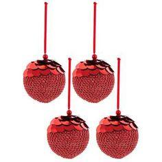 Red Sequin & Gem Plastic Ball Ornaments