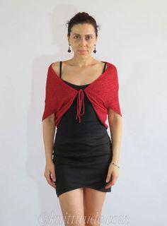 Casual Dark Red Shrug #knittitude #machineknitting #knitting - http://knittitude.com/casual-dark-red-shrug-machine-knitting-pattern/