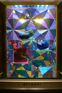 This a closed back window display of Bulgari.