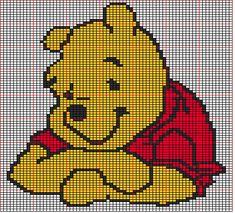Diagram 83 Winnie the Pooh Winnie The Pooh Friends, Disney Winnie The Pooh, Baby Cross Stitch Patterns, Cross Stitch Charts, Winie The Pooh, Baby Sweater Knitting Pattern, Crochet Disney, Bobble Stitch, Tapestry Crochet