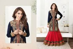 Stunning Black and Red Lehenga Cum Dress With Black Top fully Embroidered in Golden and Red Lehenga with Broad Golden Border. Different and Stunning.