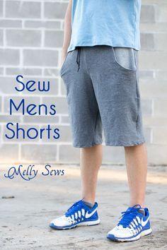 Sew Mens Shorts Tutorial - with drawstring and pockets - Melly Sews