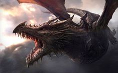 THE-WORLD-OF-ICE-AND-FIRE. - Aegon atop his dragon Balerion the Black Dread as imagined by George R. R. Martin