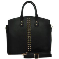 EX HIGH STREET STOCK - Black Rivet Fashion Tote Bag - The Handbag Hut - free UK delivery