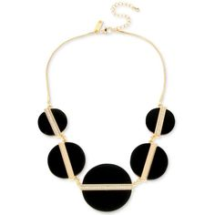 M. Haskell for Inc Gold-Tone Jet Circle Statement Necklace, ($14) ❤ liked on Polyvore featuring jewelry, necklaces, gold, gold tone jewelry, statement necklaces, gold tone necklace, pave necklace and inc international concepts