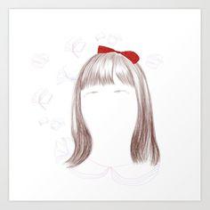 Matilda Art Print by NjikShik - X-Small Body Art Tattoos, Sleeve Tattoos, Matilda Movie, Tatting, Aurora Sleeping Beauty, Ink, Art Prints, Floral, Cute