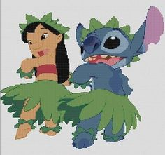 Counted cross #stitch #pattern or kit, disney, lilo and #stitch hula #dancing, View more on the LINK: http://www.zeppy.io/product/gb/2/121665669249/