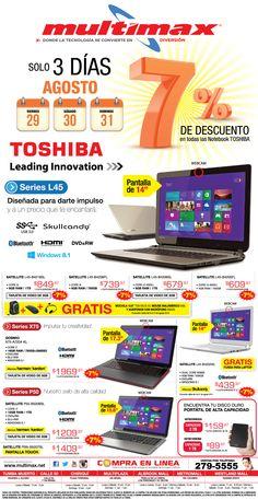 #SuperOferta Este fin de semana tenemos promoción del 7% de descuento con todos los computadores #Toshiba.