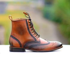 Handmade Tan Brown Ankle High Boots,Leather Ankle High Boots, Men Chelsea Boots - Boots
