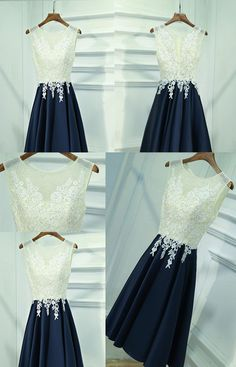 See Through Lace Navy Skirt Short Homecoming Prom Dresses, Affordable – SposaDesses