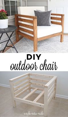 How to easily build a DIY outdoor chair for just $30 in lumber! This DIY patio chair matches our DIY outdoor couch to complete your DIY outdoor furniture set! Click to get the free tutorial!